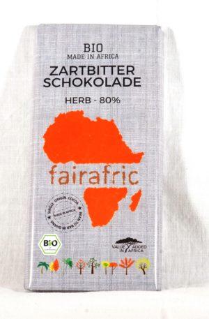 Zartbitter-Schokolade – 80% – herb – Made in Africa (33,00 EUR / kg)